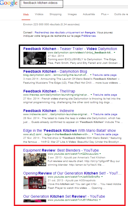 serps for feedback kitchen