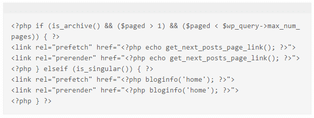 php code for prefetch prerender