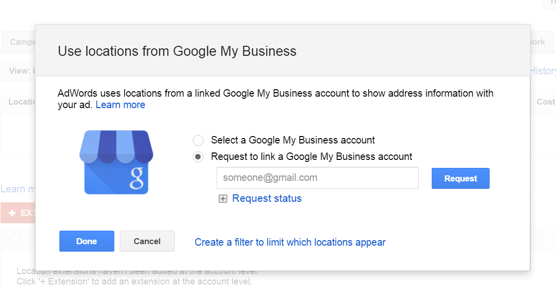request access to a Google My Business account