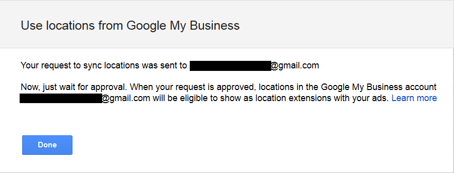 google my business request message