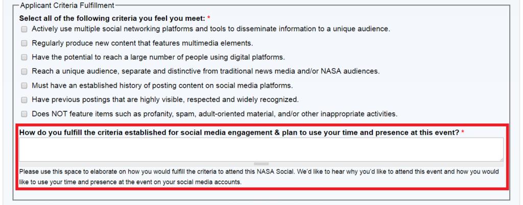 nasa social media influencer application
