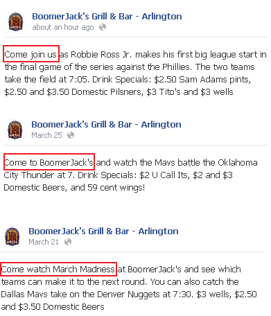 boomerjacks facebook post examples