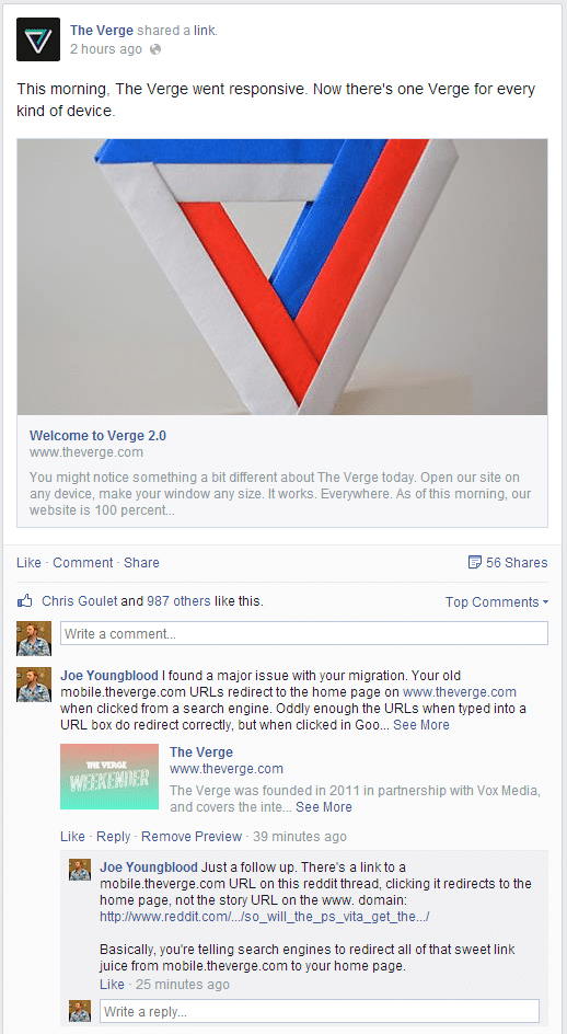 comment on The Verge facebook