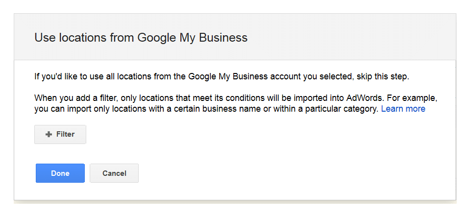 location extension message after linking google my business
