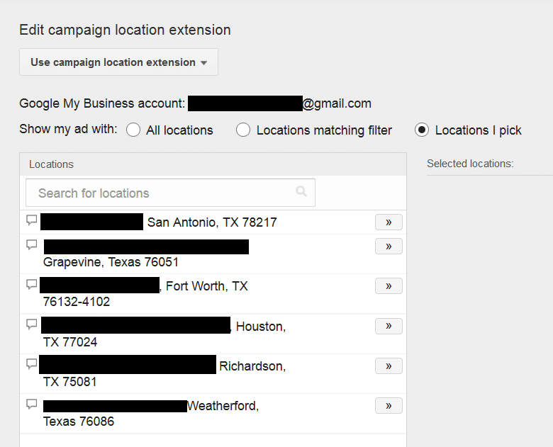 select a location extension from google my business in adwords
