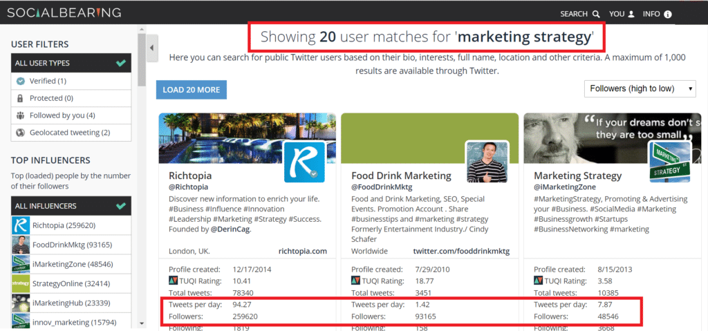 social bearing twitter search tool