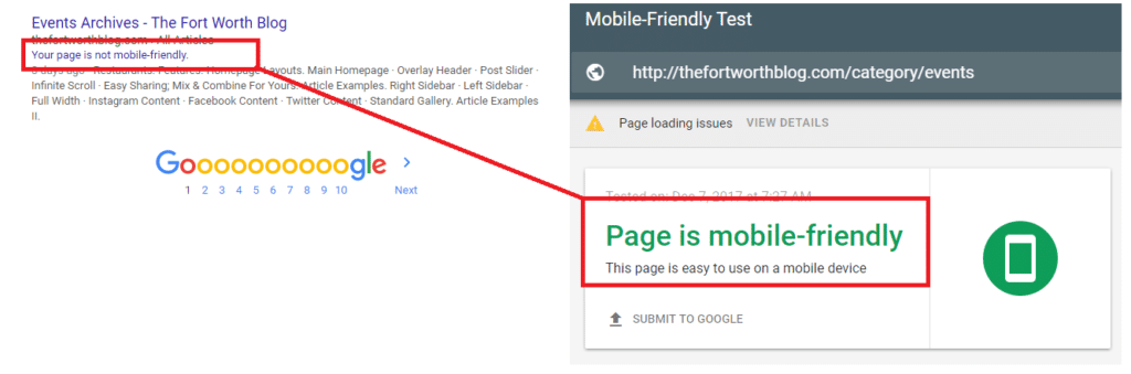 google index says a new site is not mobile-friendly